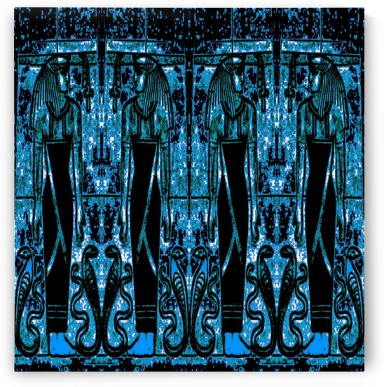 Egyptian Priests And Snakes Blue And White 3 by Sherrie Larch