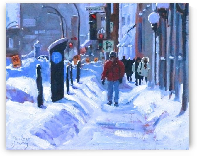 Winter Signs, Montreal Downtown Scene by Darlene Young Canadian Artist