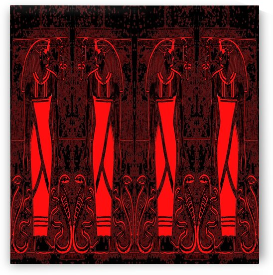 Egyptian Priests And Snakes In Black And Red Orange 3 by Sherrie Larch