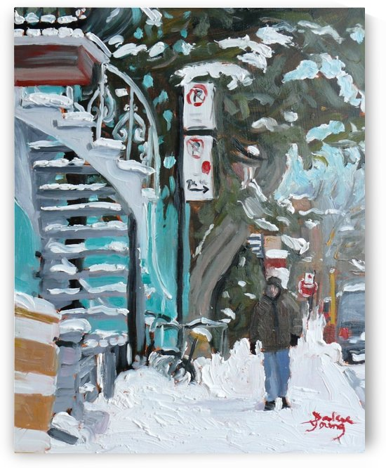 Montreal Winter, Mile End Scene by Darlene Young Canadian Artist