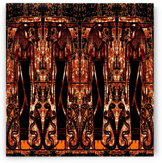 Egyptian Priests And Snakes In Gold And Black 3 by Sherrie Larch