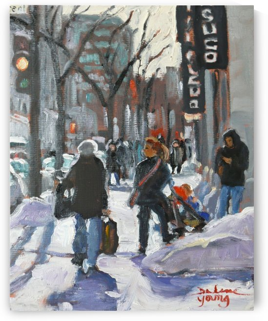 Ste-Catherine, Montreal Winter Scene by Darlene Young Canadian Artist