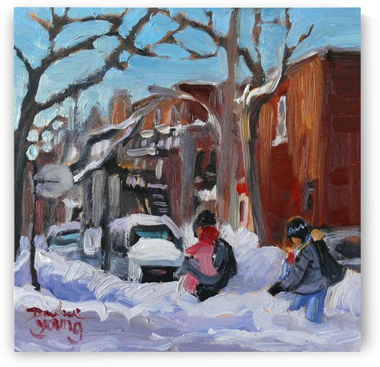 Young Family, Montreal winter scene by Darlene Young Canadian Artist