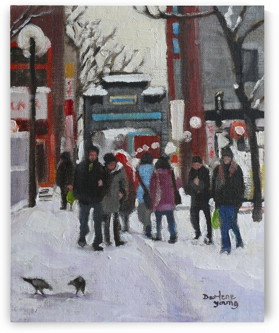 Montreal Winter Scene Chinatown by Darlene Young Canadian Artist