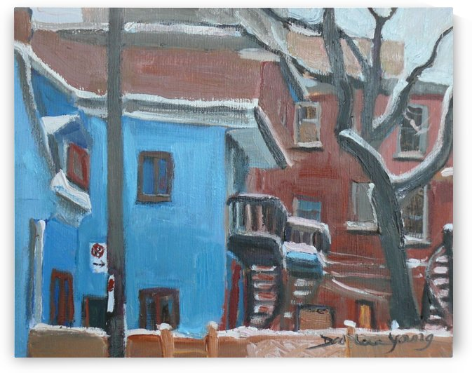 The Blue House, McGill Ghetto Scene by Darlene Young Canadian Artist