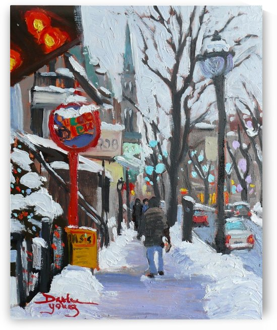 Montreal Winter Scene, St- Denis by Darlene Young Canadian Artist