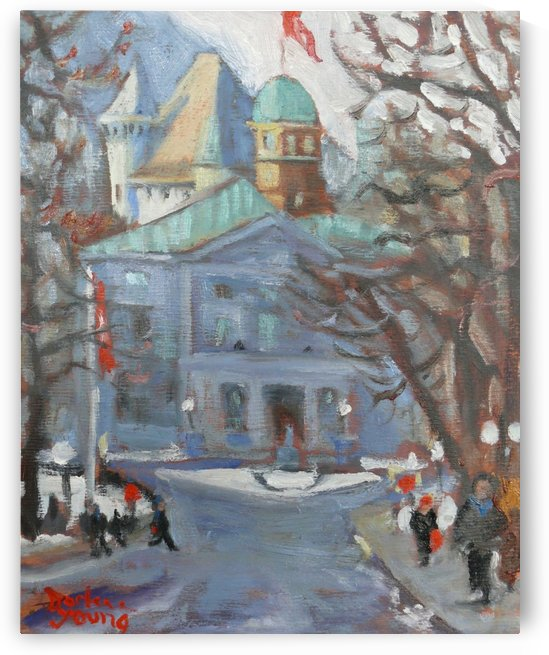 McGill Front Entrance, Montreal Winter Scene by Darlene Young Canadian Artist