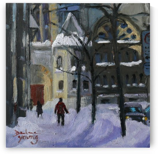 Montreal Downtown Scene, Drummond Winter by Darlene Young Canadian Artist