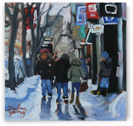 Montrel winter Scene, Ste-Catherine by Darlene Young Canadian Artist