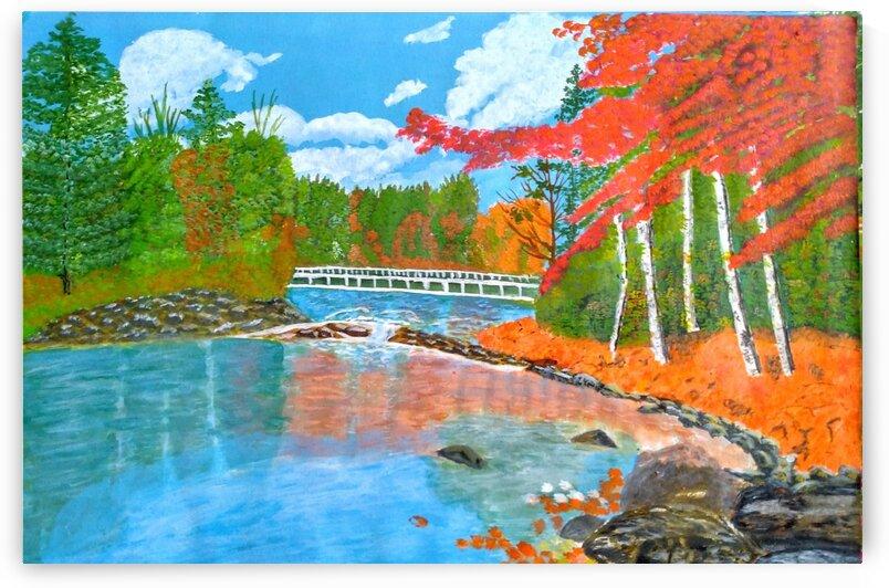 Lakeside Autumn Trees by MKulArts