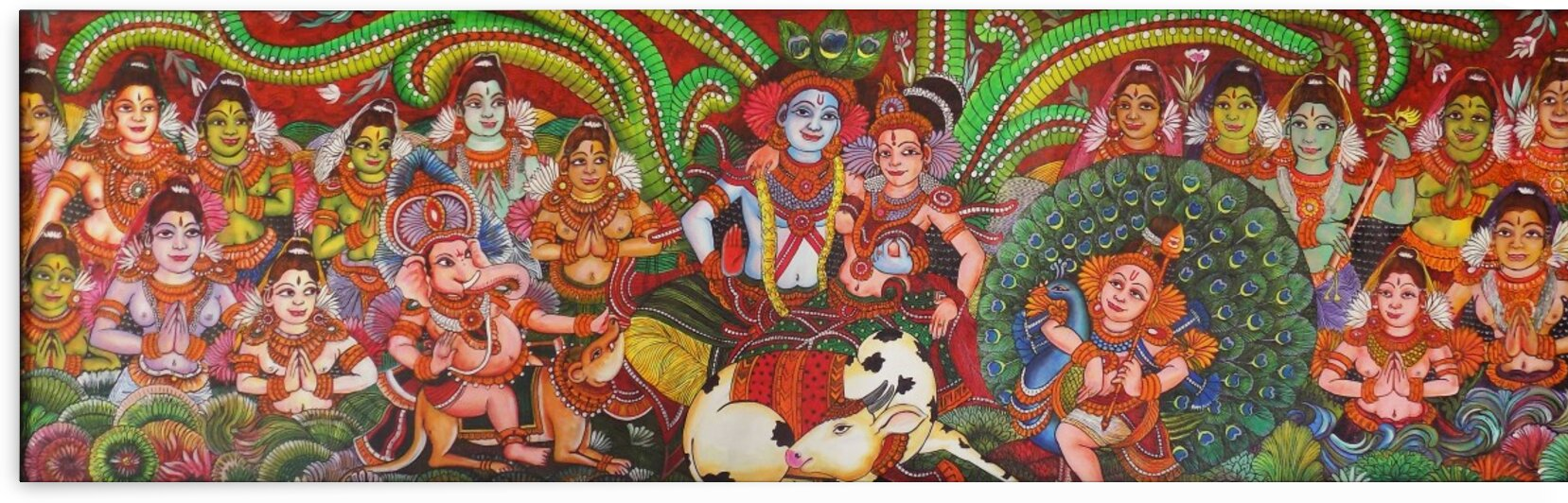 KRISHNA AND RADHA BLESSED BY LORD MURUGA AND LORD GANESHA MURAL PAINTING by ASP ARTS