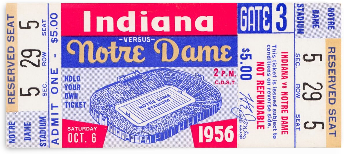1956 Notre Dame vs. Indiana by Row One Brand