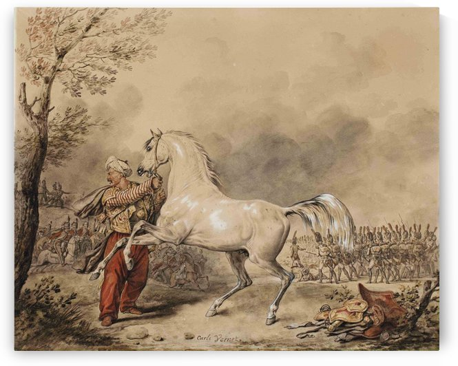 Oriental soldier and his horse by Antoine Charles Horace Vernet