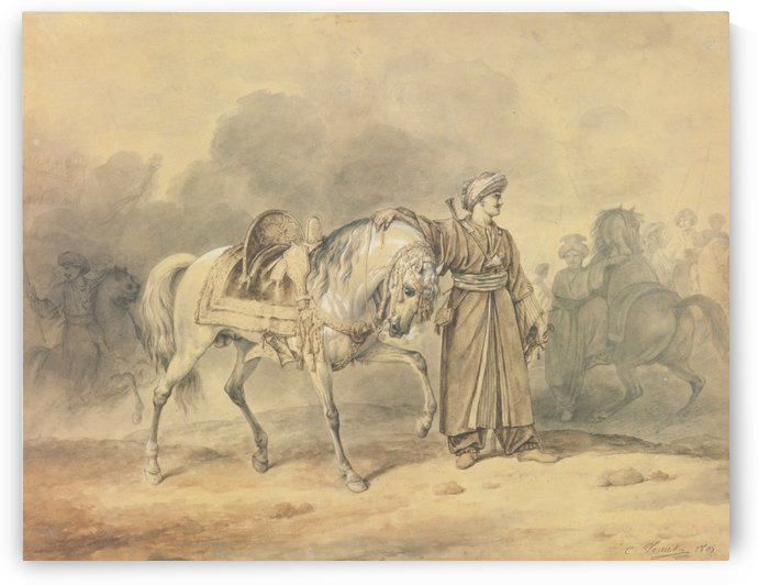 A Mameluk leading his horse by Antoine Charles Horace Vernet