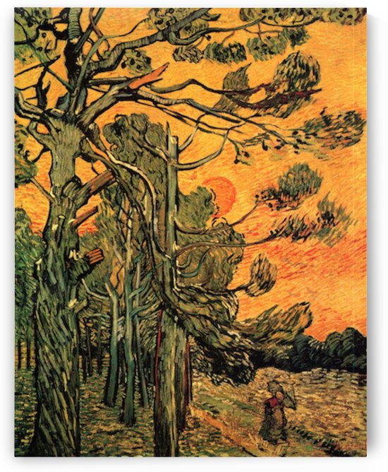 Pine Trees against a Red Sky with Setting Sun by Van Gogh by Van Gogh