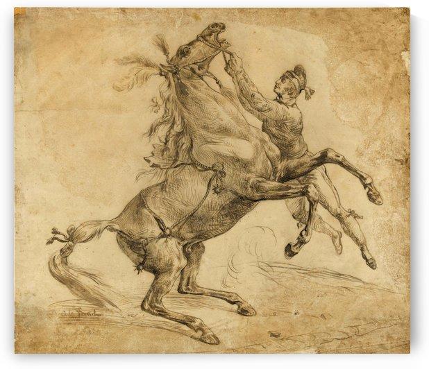 Cheval tenu a la bride, en se cabrant by Antoine Charles Horace Vernet