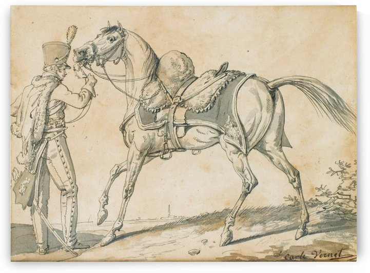 Soldier and his horse by Antoine Charles Horace Vernet