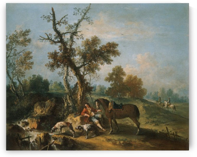 Landscape with a Resting Hunter by Francesco Zuccarelli