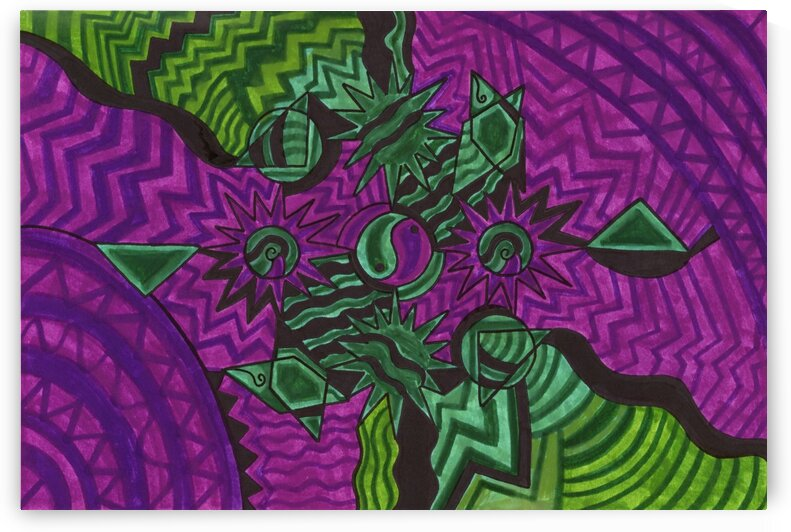 Yin And Yang Green And Purple Haze  by Sherrie Larch