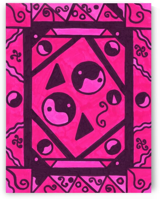 Yin And Yang Pink and Black Haze by Sherrie Larch