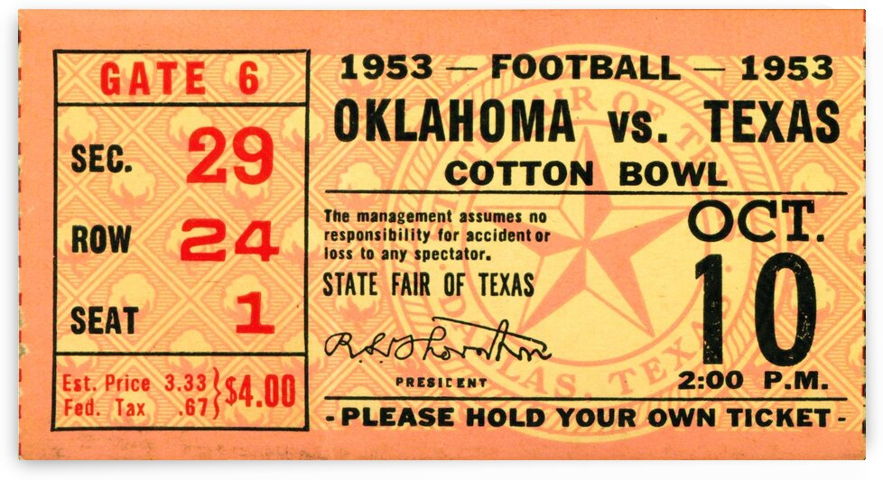 1953 Oklahoma vs. Texas by Row One Brand