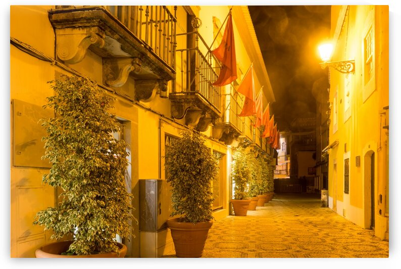 Charming Faro Algarve Portugal - Fab Small Street with Flags and Sea Mist Lens Flares by GeorgiaM