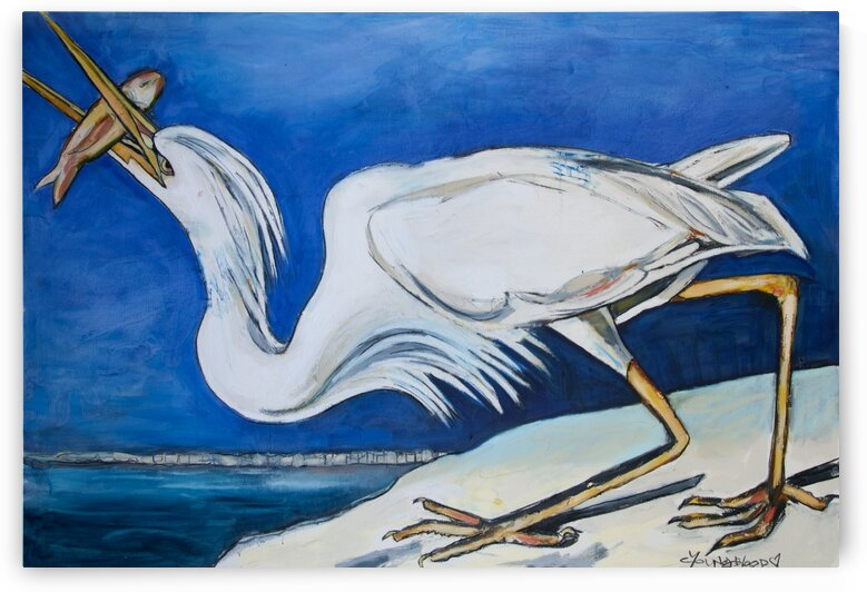 Louisiana Great White Heron on the Shore by Caroline Youngblood