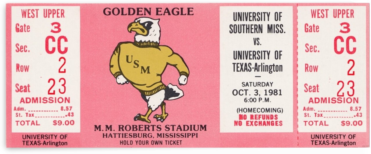 1981 Southern Miss vs. Texas Arlington by Row One Brand