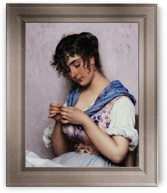 The Italian Seamstress  by Eugene de Blaas Classical Art Old Masters Reproduction by xzendor7