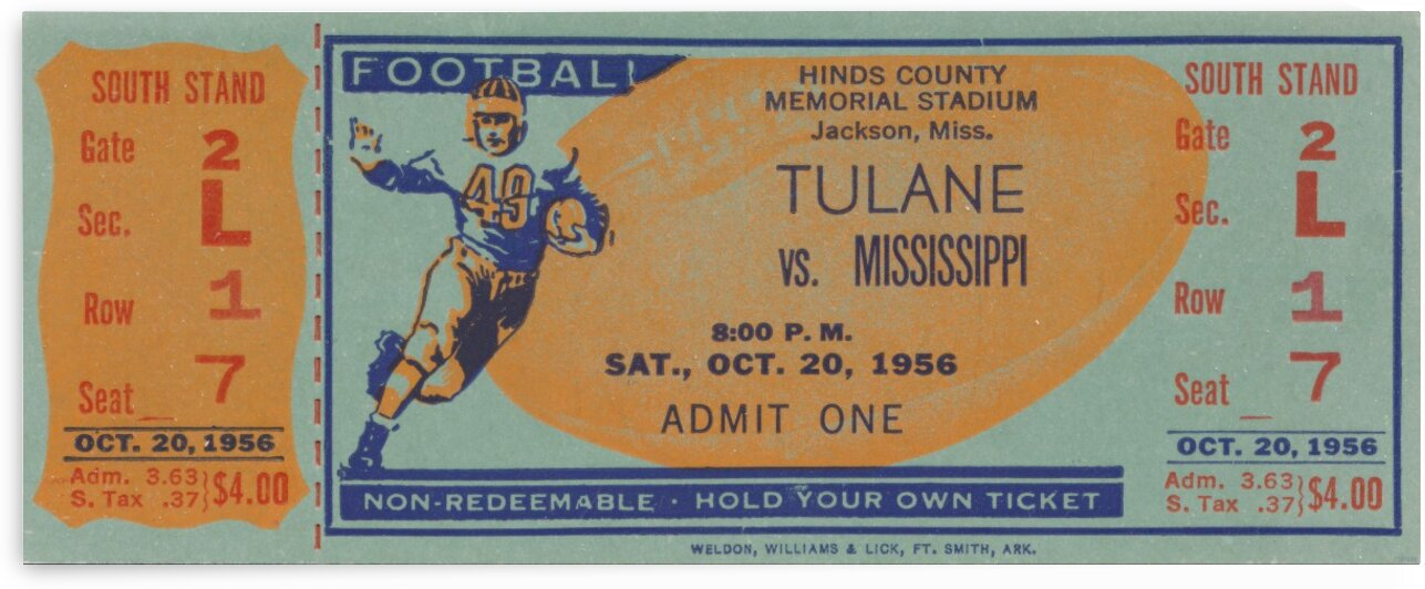 1956 Tulane vs. Ole Miss by Row One Brand