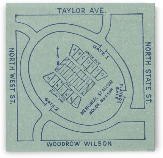 1956 Memorial Stadium Map Jackson MS by Row One Brand