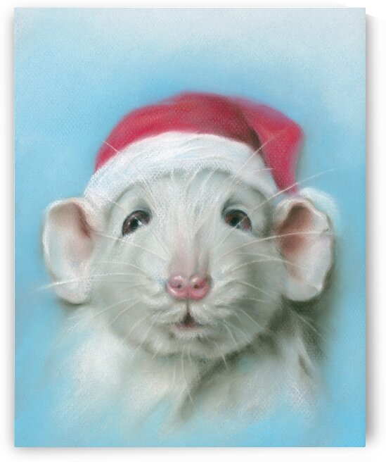 White Christmas Rat with a Red Santa Hat by MM Anderson