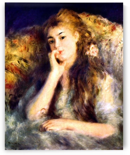Portrait of a girl in thoughts by Renoir by Renoir