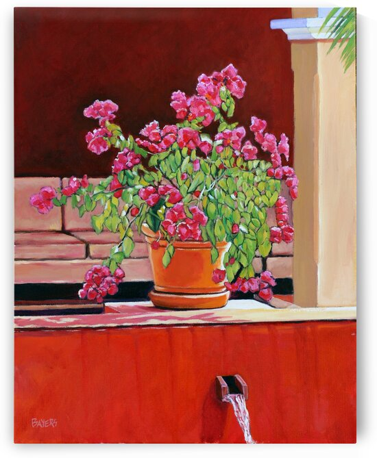 Pink Flowers in Clay Pot at the Valentin Rivera Maya in Mexico by Rick Bayers