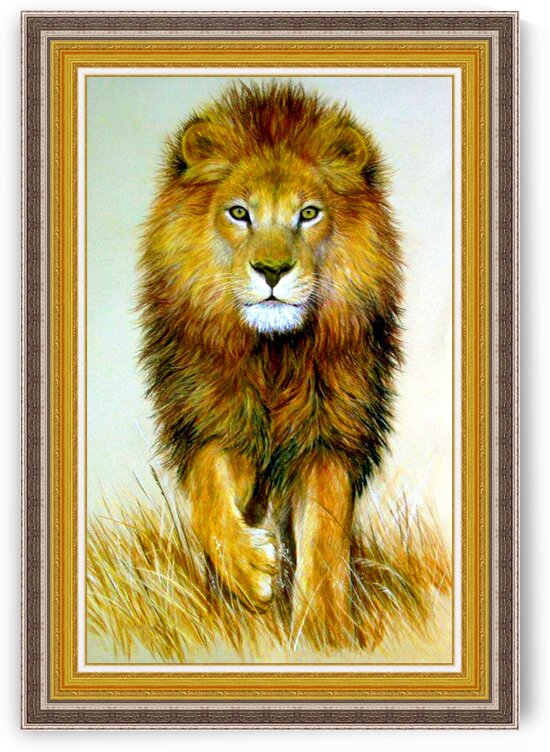 Original Pastel Drawing Stunning African Lion by Nature Art