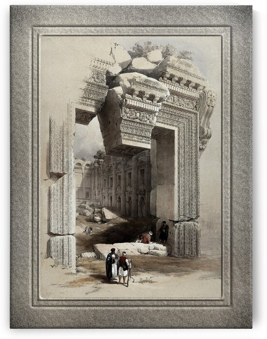 Carved Stone Doorway at Baalbec Lithograph by Louis Haghe Old Masters Classical Fine Art Reproduction by xzendor7