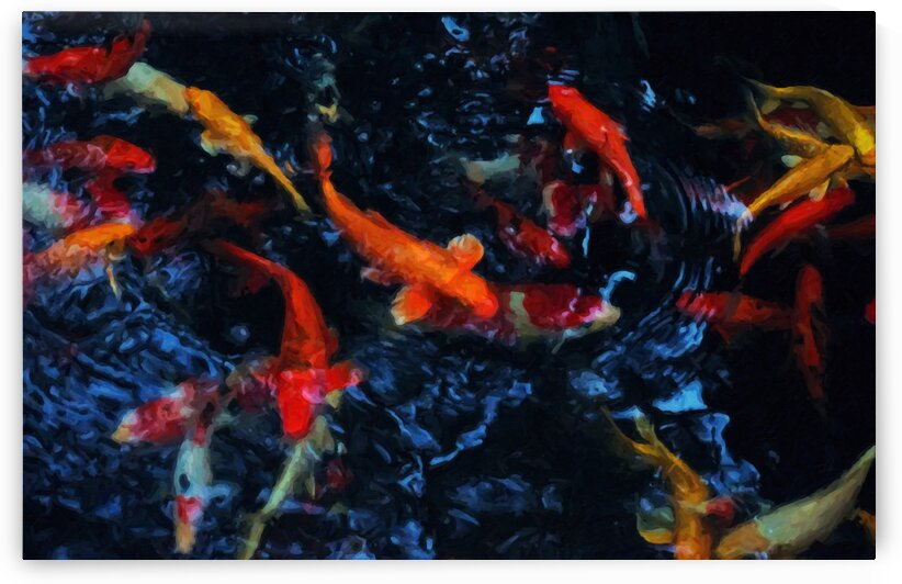 Background of digital paint the koi swimming in the black pool by Krit of Studio OMG