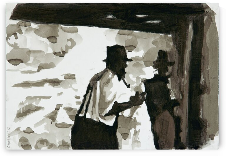 Two Men Working in Smokehouse Silhouettes  Riverton 1937 by Caroline Youngblood