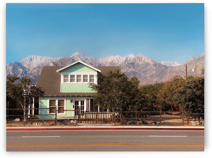 blue house with mountain view background in California USA by TimmyLA