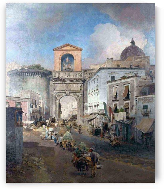 Italian market in Rome by Oswald Achenbach