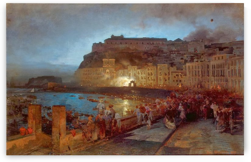 Fireworks in Napels lightened by Oswald Achenbach
