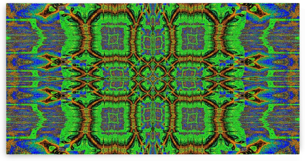 Tribal Green Flower Tapestry by Sherrie Larch