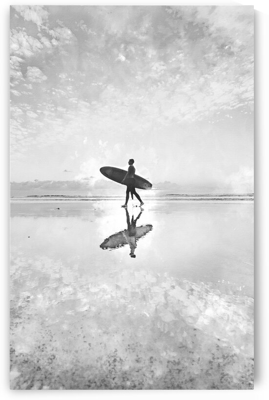Surfer Watercolor Print in black and white by Surf Posters