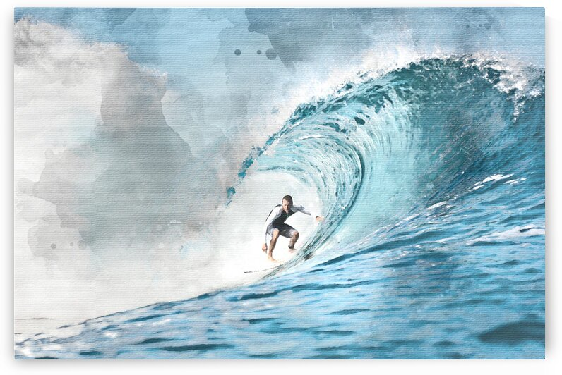 Surfer Watercolor Print by Surf Posters