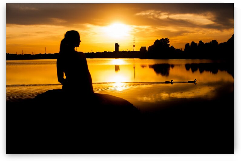 Woman and Ducks at Sunset in Silhouette by Bobby Twilley Jr