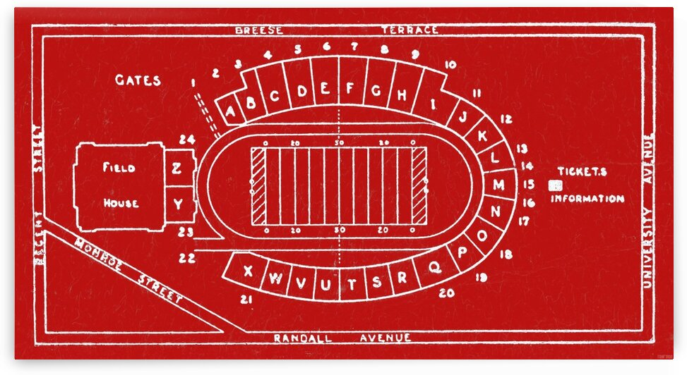 1937 Camp Randall Stadium Map by Row One Brand