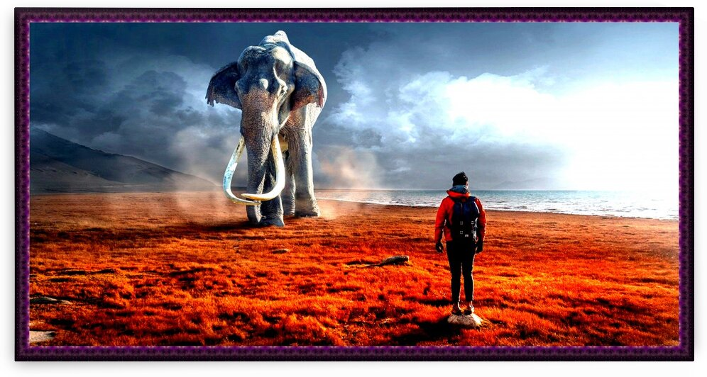 Fantasy elephant and man by Nature Art