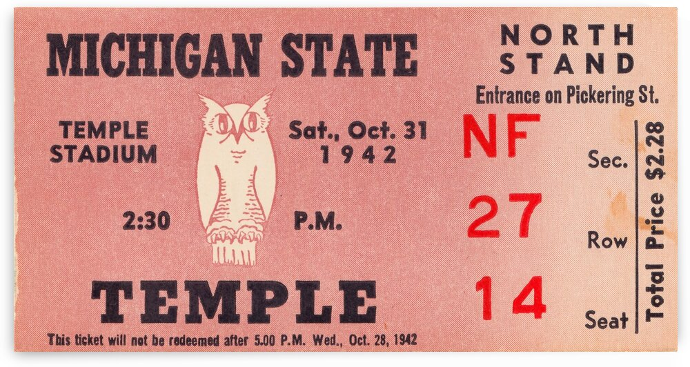 1942 Michigan State vs. Temple by Row One Brand