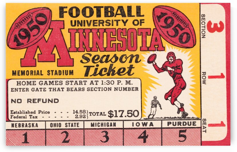 1950 University of Minnesota Season Ticket by Row One Brand