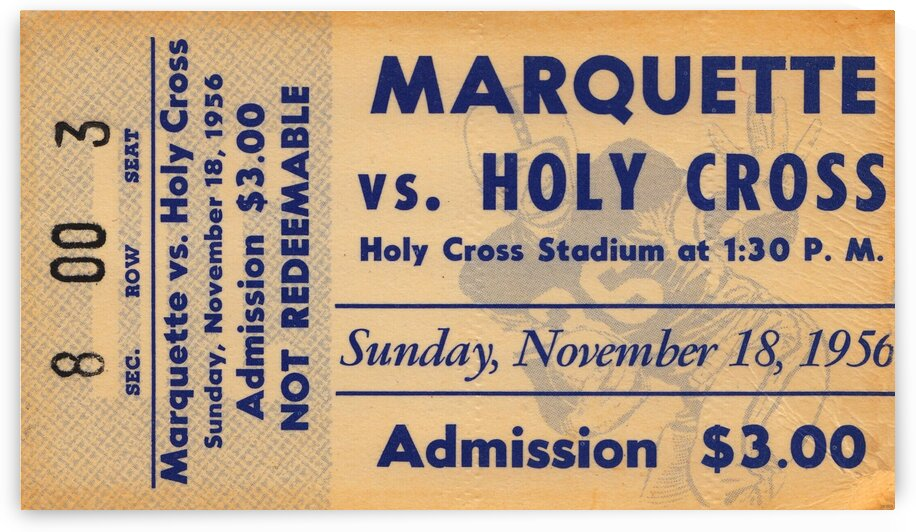 1956 Holy Cross vs. Marquette by Row One Brand